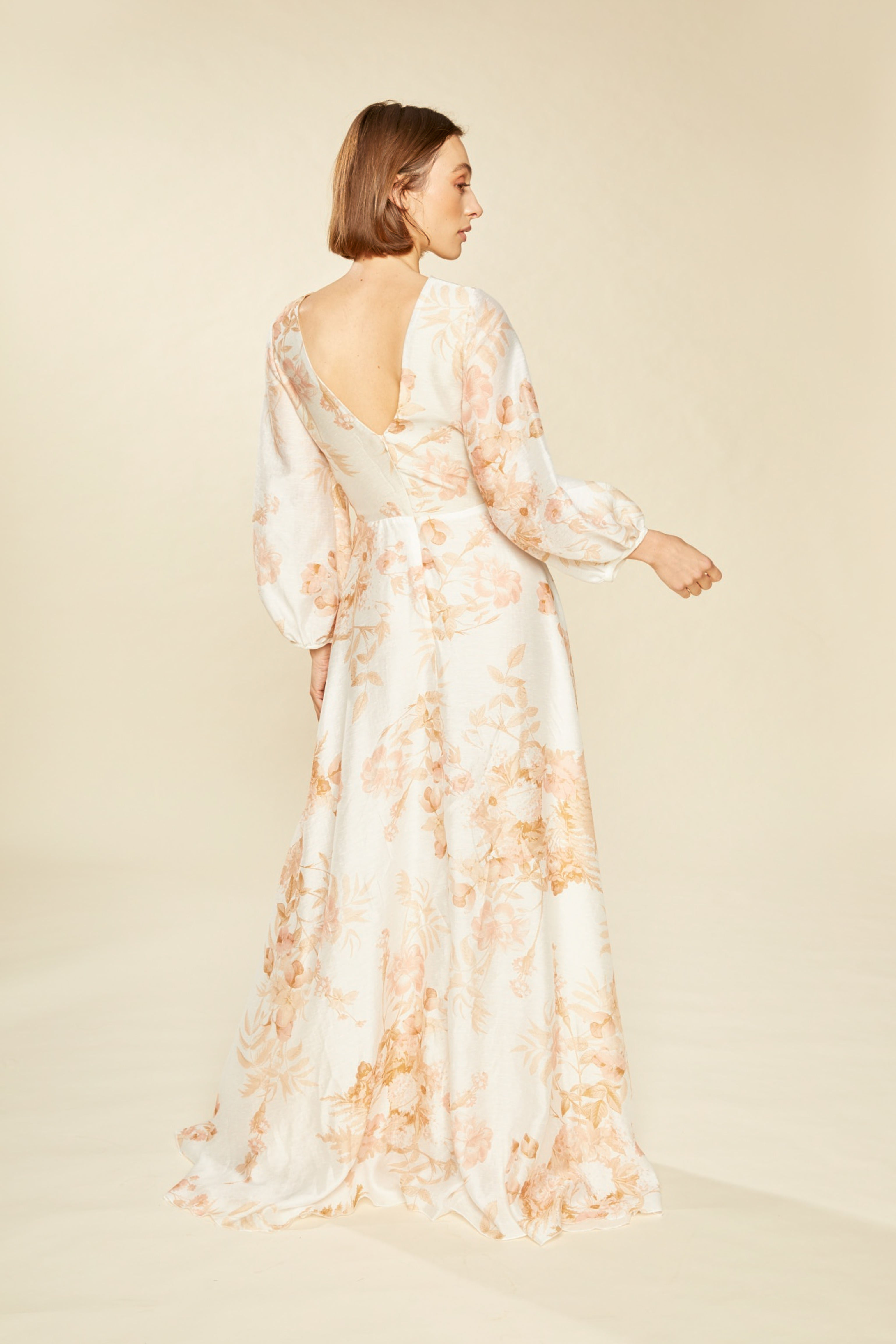 Serena Floral Cowl Neck Gown