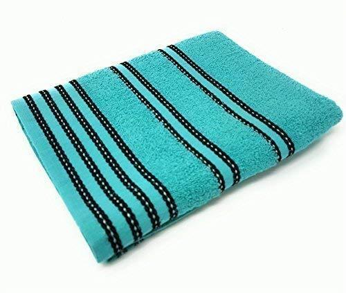 10 X STRIPED BRIGHT 100% COMBED COTTON SOFT ABSORBANT TURQUOISE BLUE HAND TOWELS