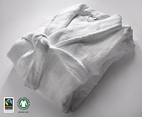 100% Organic GOTS & Fairtrade Cotton Hotel Quality White Towels 550gsm (Bathrobe X-Large)