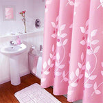 100% Polyester Pink Shower Curtain, Extra Long White Leaf Opaque Pattern Mildew Resistant Waterproof Bathroom No Transparent With Enough Rings Hooks , 200 x 240 cm