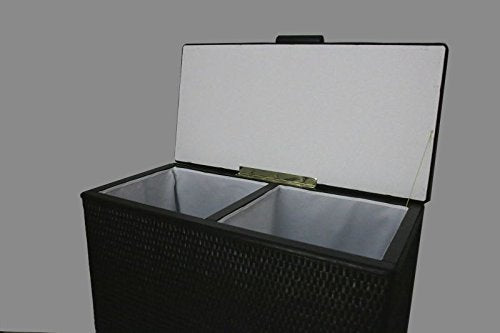 'Black Rattan Laundry Basket Sorter 2 Seat Bench with Two Compartments, Made in Germany