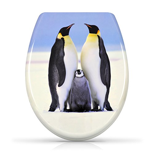 'Penguin Family Toilet Seat with Slow-Close Mechanism - Duroplast Toilet Seat with Fixing Screws - Grin Design Card