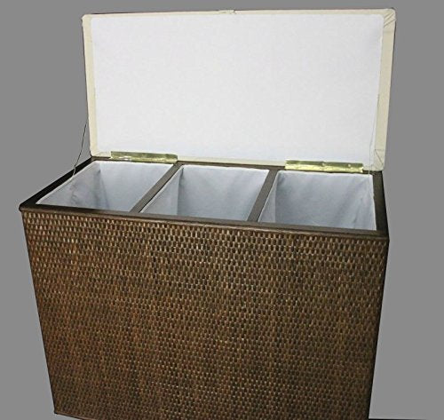 '3 Compartment Sorter Stool Brown Rattan Laundry Basket with 3 Compartments Made in Germany