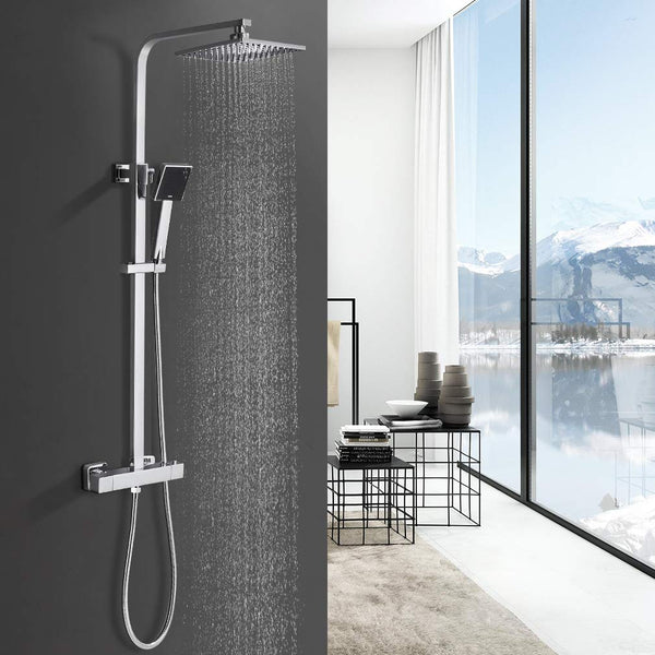 'Bonade Thermostat Shower System Shower Thermostatic Shower Set Rain Shower Square Rain Shower with Adjustable Riser Rail Kit (723 - 1225 mm with 8 Square Overhead Shower and Hand Shower
