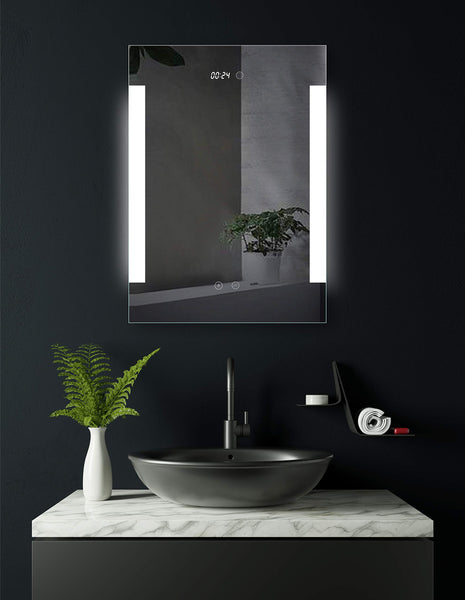 - Augsburg, LED illuminated bathroom mirror with integrated digital clock, 50 cm x 70 cm, side lit mirror, energy class A+