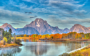 river, oxbow, water, outdoors, park, national, mountain, landscape, grand, nature, reflection, wyoming, autumn, beautiful, scenery, scenic, bend, fall, clouds, lake, mount, blue, calm, color, forest, travel, teton, rocky, moran, oxbow bend, snake, peaks, dramatic, snow, panoramic, panorama, natural, horizontal, overlook, aspens, peak, grand teton, outside, sky, environment, outdoor, inspirational, range, clear, trees