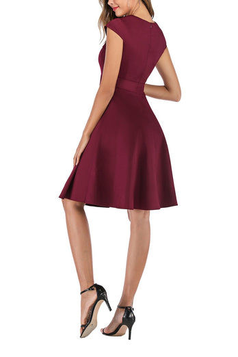 Burgundy Asymmetrical Neck 1950s Dress