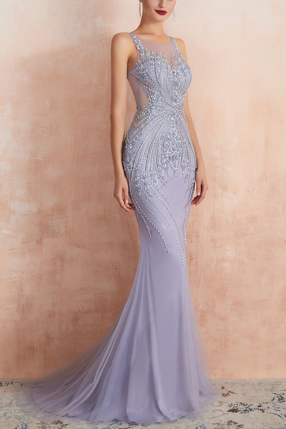 Mermaid Illusion Neck Prom Dress