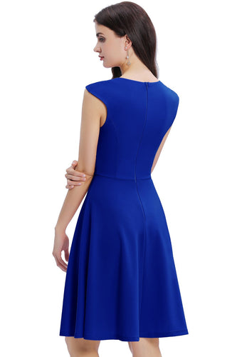 Royal Blue Solid Homecoming Dress