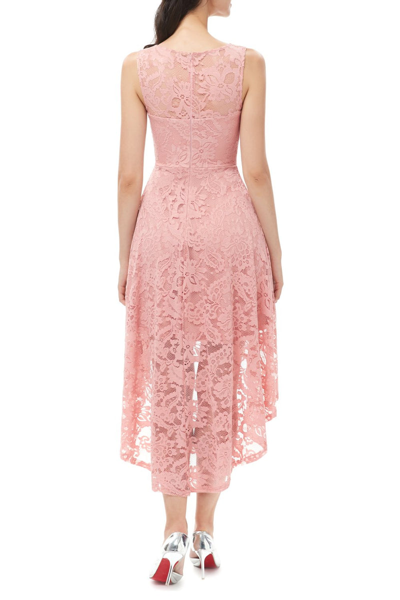 Load image into Gallery viewer, Pink High-low Lace Dress