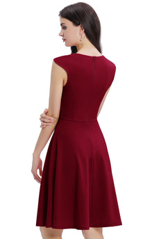 Burgundy Solid Homecoming Dress