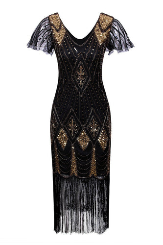 Black Flapper 1920s Sequins Dress