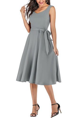 Grey Retro Swing Dress