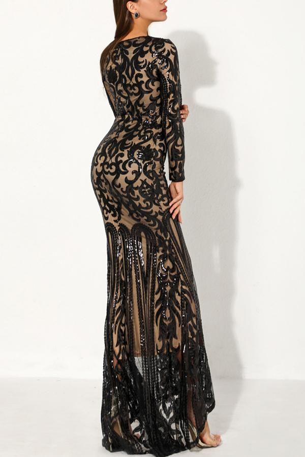 Load image into Gallery viewer, Black Mermaid Long Sequin Prom Evening Dress