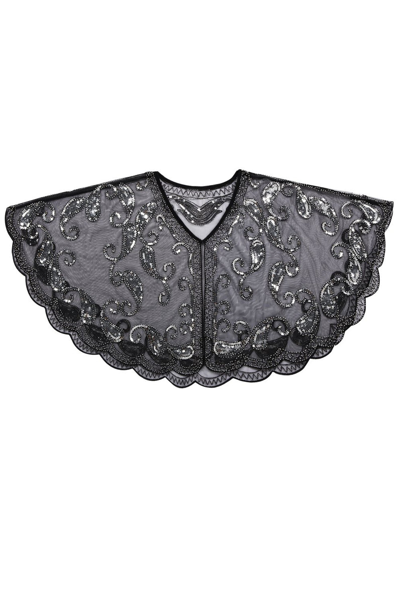 Load image into Gallery viewer, 1920s Black Glitter Sequins Cape