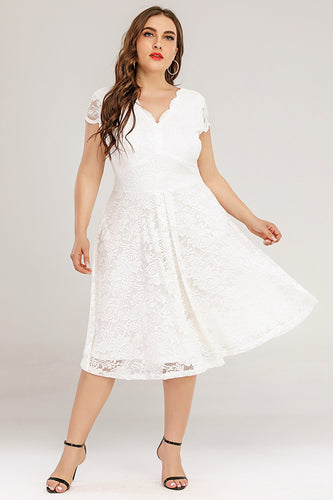 Plus Size White Midi Lace Dress