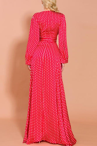 Red Polka Dots Long Sleeves Bohemian Dress