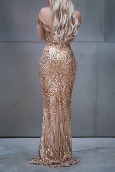 Off Shoulder Mermaid Sequins Dress