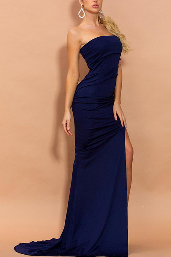 Load image into Gallery viewer, Mermaid Navy Blue One Shoulder Dress with Slit