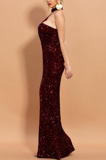 Burgundy Mermaid Sequined Halter Long Prom Dress