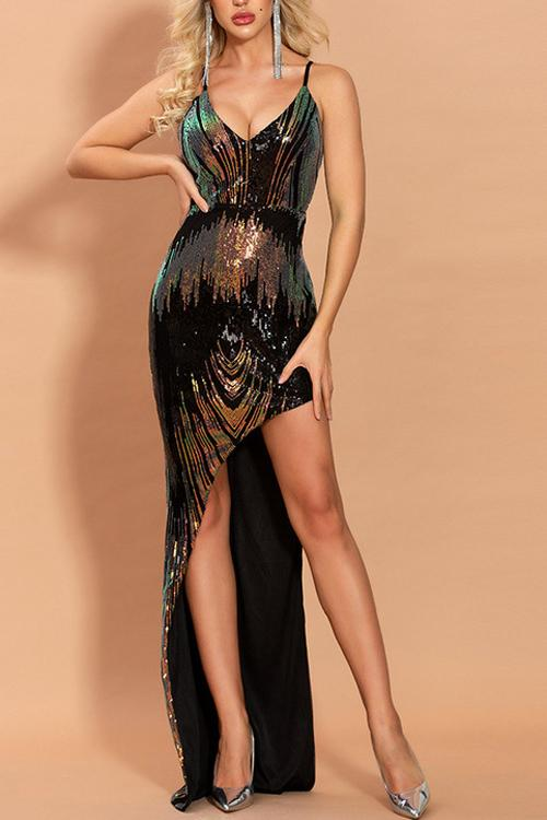 Load image into Gallery viewer, Hot Sexy V Neck Black Prom Dress