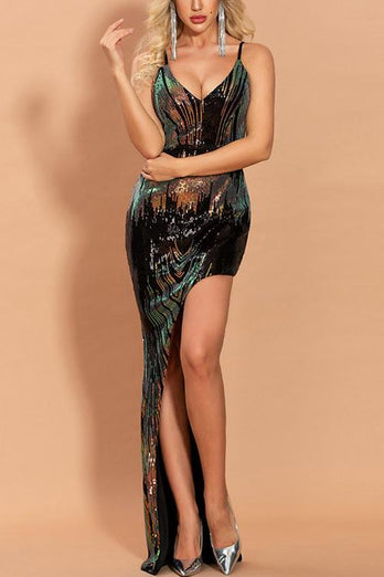 Hot Sexy V Neck Black Prom Dress