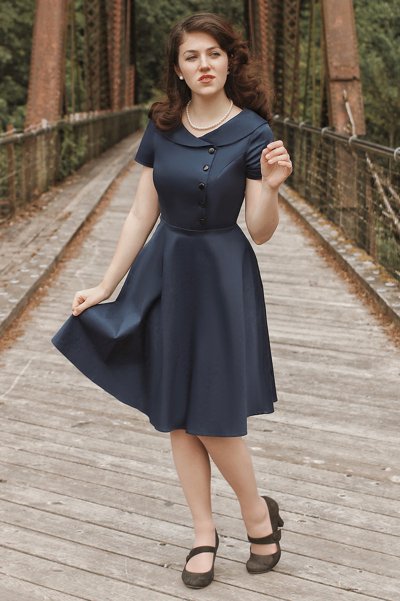 Load image into Gallery viewer, Navy Blue Button Dress