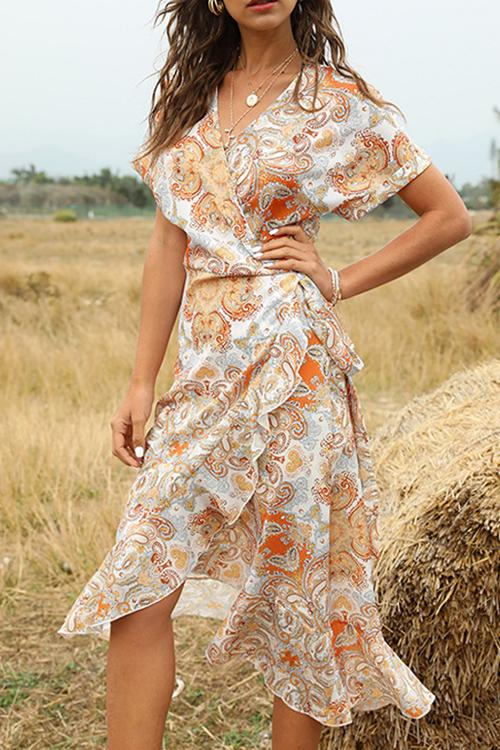 Load image into Gallery viewer, Asymmetrical Wrap Boho Dress