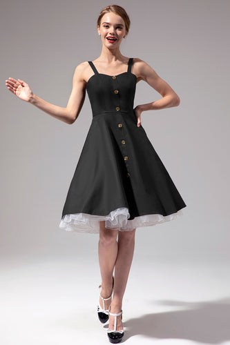 Vintage Black Dress With Button