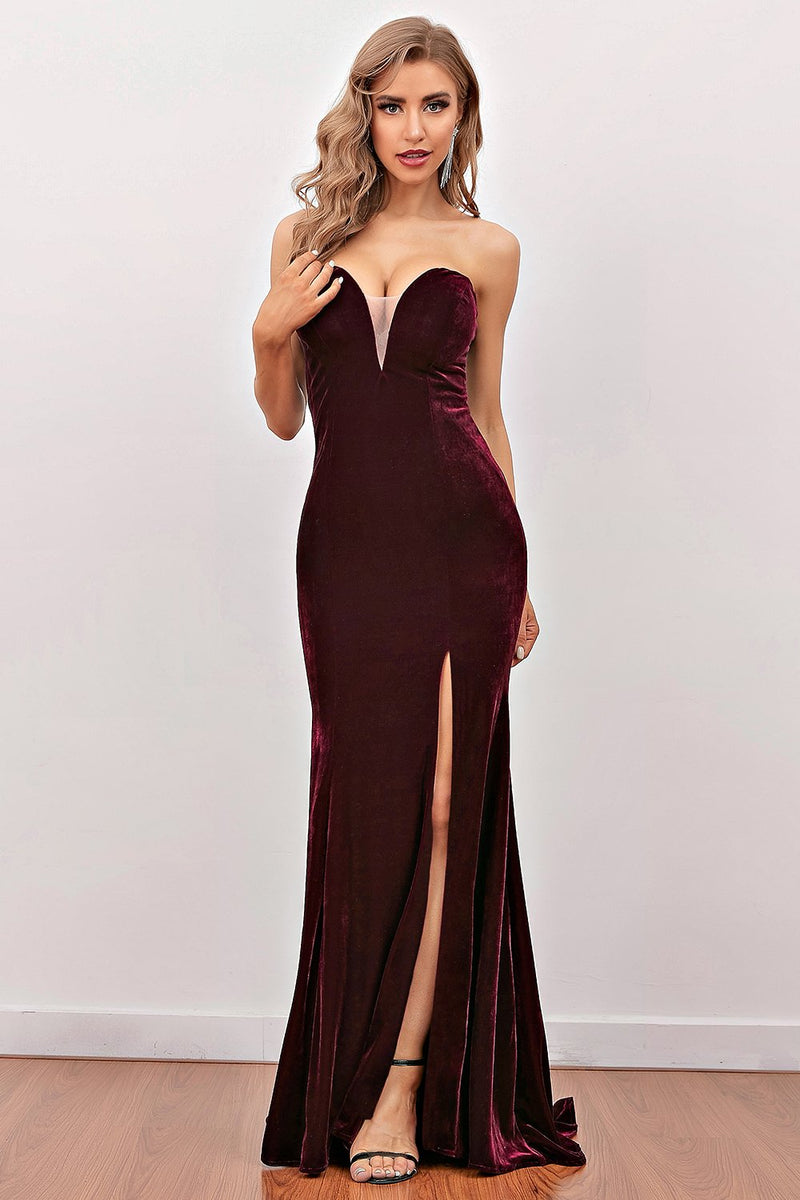 Load image into Gallery viewer, Fashion Burgundy Sweetheart Long Party Dress