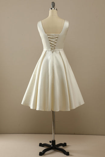 Champagne Satin Homecoming Dress