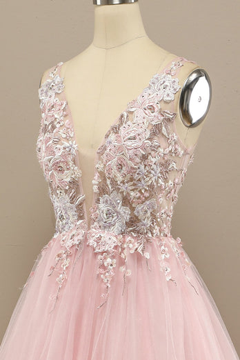 Gorgeous Deep V Neck Grey/Pink Prom Dress with Appliques