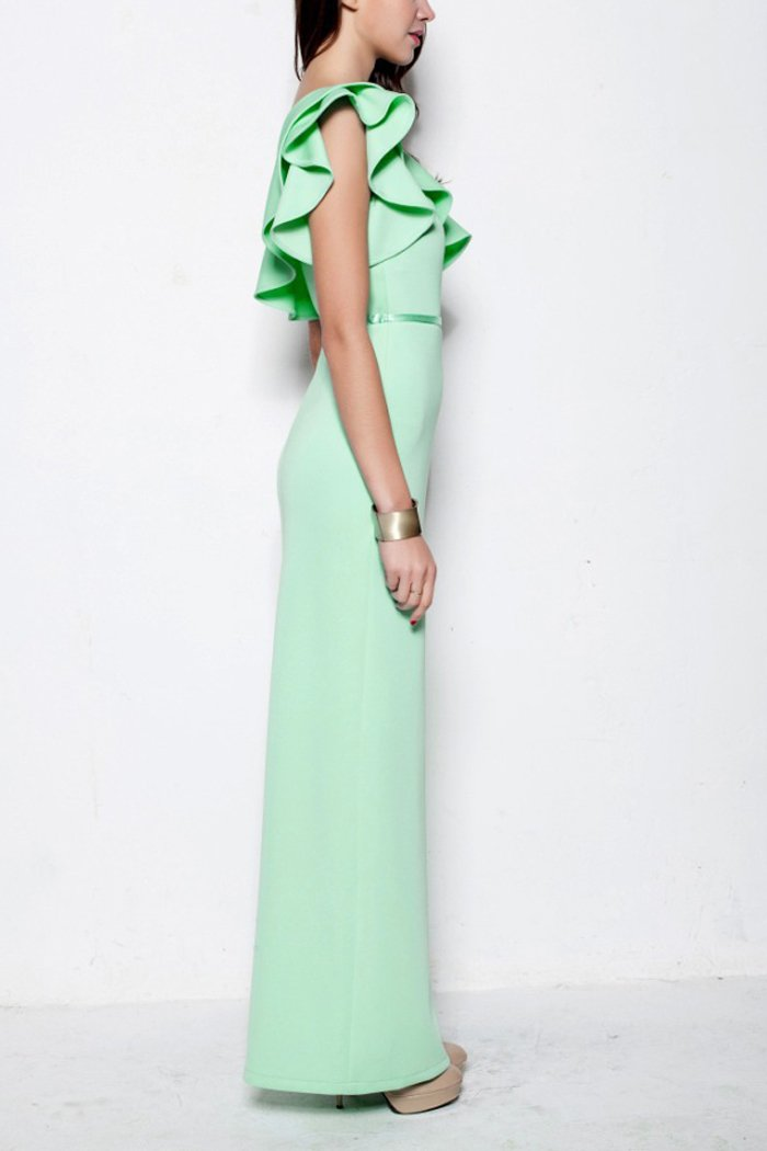 Mint One Shoulder Long Bridesmaid Dress With Ruffles