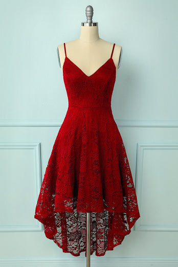 Straps Dark Red Lace Dress
