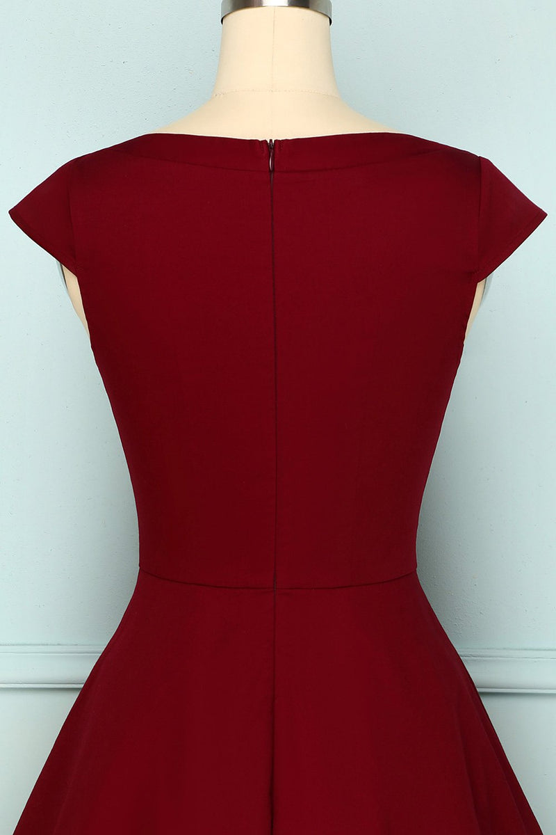 Load image into Gallery viewer, 1950s Burgundy Dress