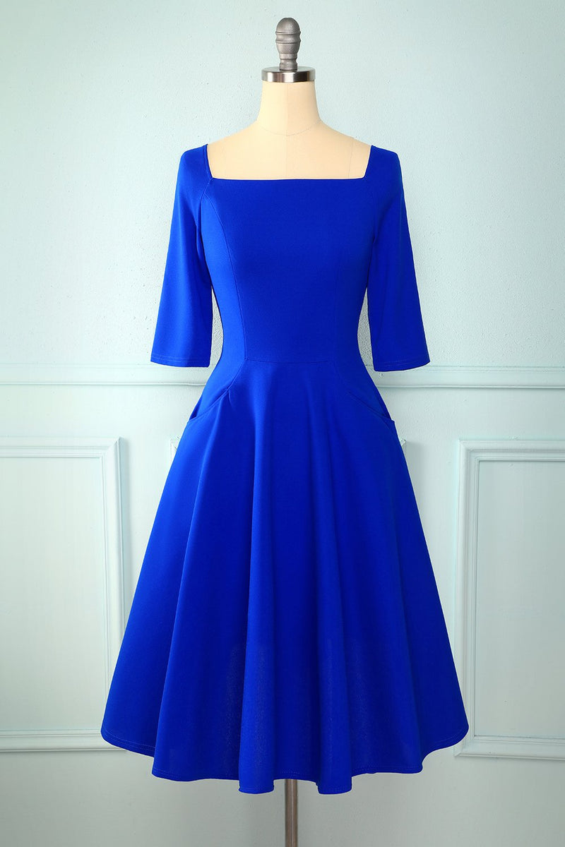 Load image into Gallery viewer, Royal Blue Midi Dress with Pockets