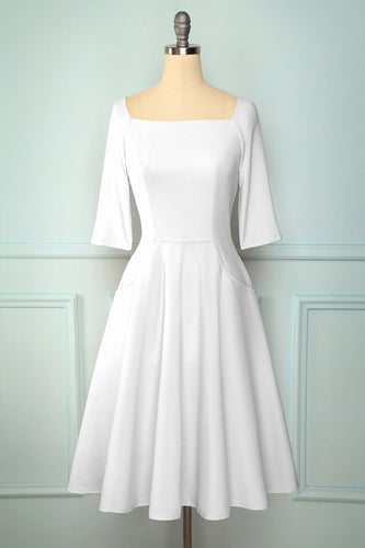 White Midi Dress with Pockets