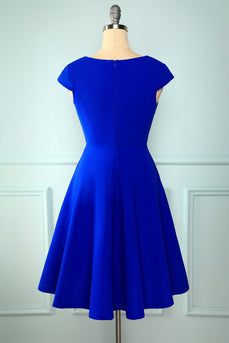 Royal Blue Solid Hoco Dress