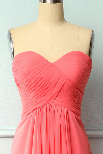 Coral Long Bridesmaid Dress