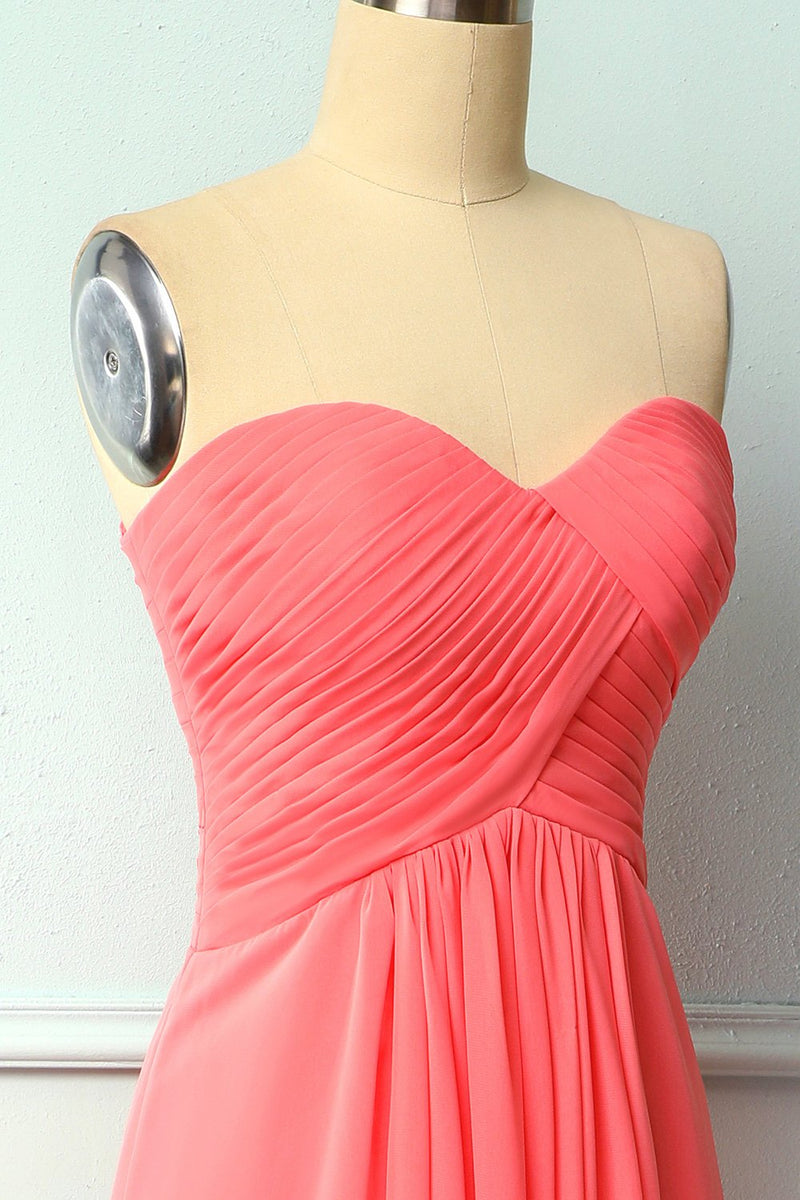 Load image into Gallery viewer, Coral Long Bridesmaid Dress