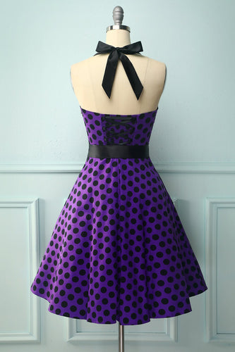 Halter Purple Black Dots Dress