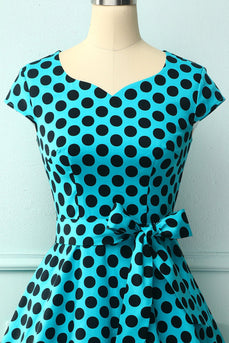 1950s Blue Black Dots