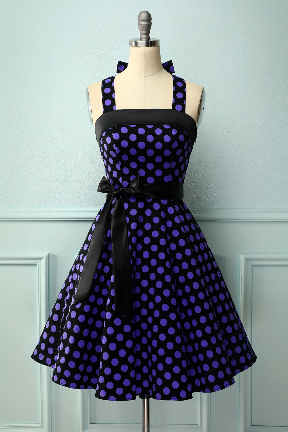 Black Purple Dots Halter Pinup Dress