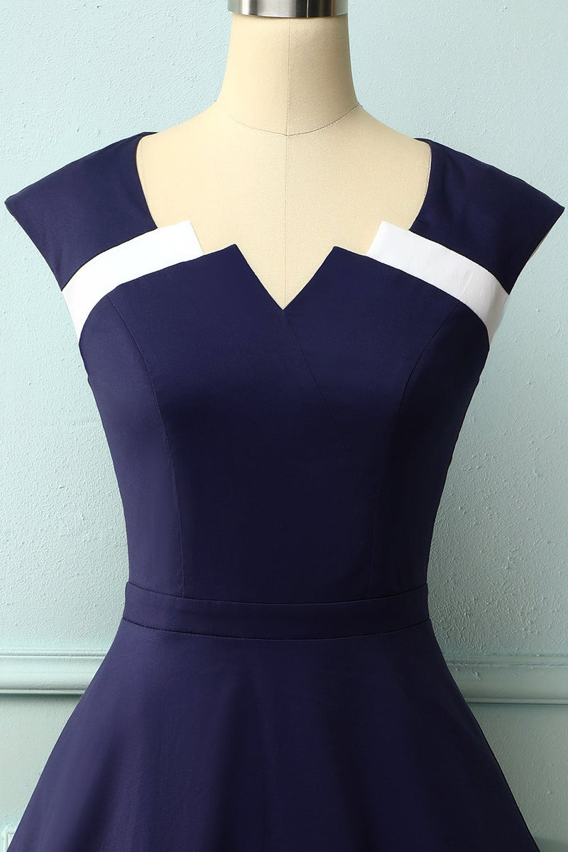 Load image into Gallery viewer, Navy Asymmetrical Neck 50s Dress