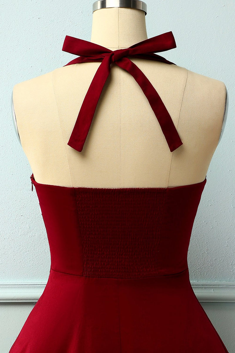 Load image into Gallery viewer, Dark Red 50s Rockabilly Pin Up Dress