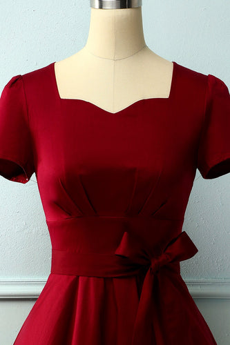 Burgundy Asymmetrical Neck Dress