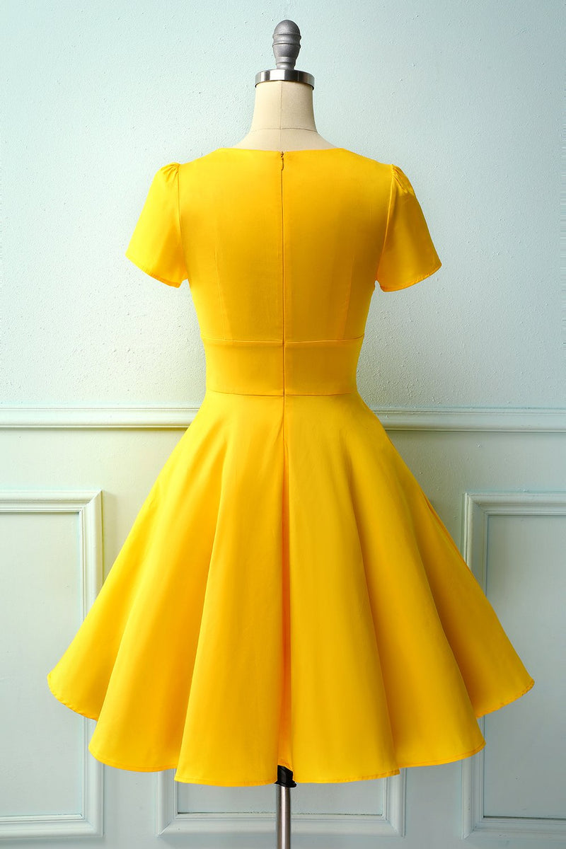 Load image into Gallery viewer, Yellow Asymmetrical Neck Dress