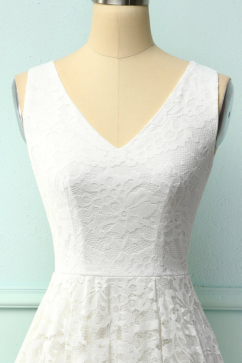 Load image into Gallery viewer, Lace White Asymmetrical Dress
