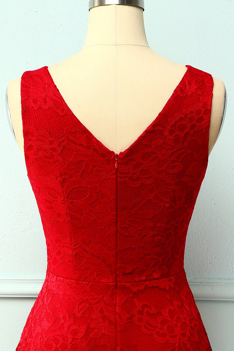 Load image into Gallery viewer, Dark Red Lace Asymmetrical Dress