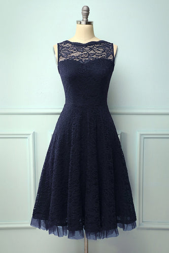 Lace Navy Formal Dress